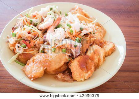 Spicy Salad Of Shrimp And Egg Tofu Stir-fry