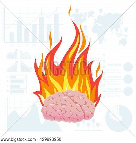 Brain Overheating. Burning Head. Cartoon Body Part With Red Fire Flame. Overworked Student. Burnout