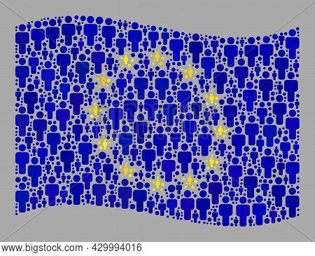 Mosaic Waving Europe Flag Created Of Man Items. Vector Population Collage Waving Europe Flag Designe