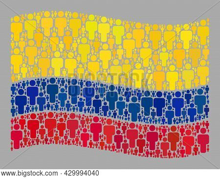 Mosaic Waving Colombia Flag Created Of Crowd Items. Vector Crowd Collage Waving Colombia Flag Organi