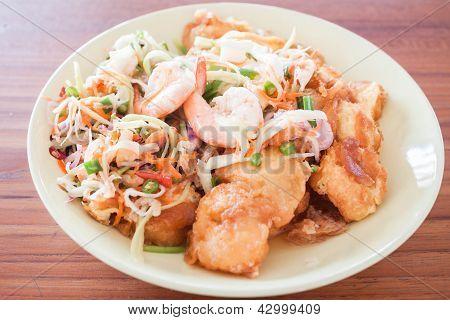 Spicy Shrimp Salad Of Egg Tofu Stir-fry