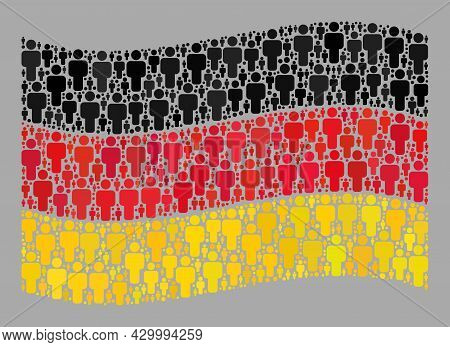 Mosaic Waving Germany Flag Designed With Human Icons. Vector Demographic Collage Waving Germany Flag