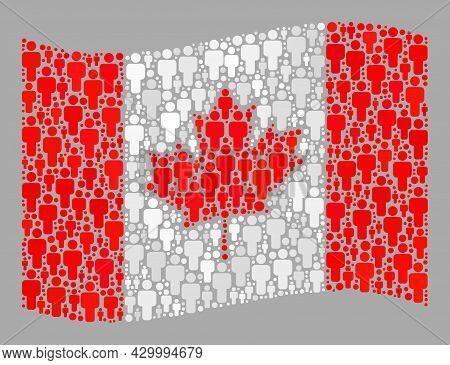 Mosaic Waving Canada Flag Designed Of Men Items. Vector People Mosaic Waving Canada Flag Designed Fo
