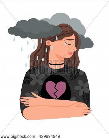 Unhappy Love Girl. Sad Break Heart Woman, Couple Divorce Female Person Stress, Lonely Young Girl Por