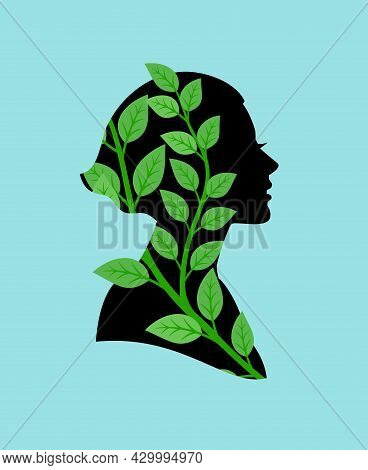 Healthy Life Woman Profile. Happy Girl Black Portrait With Green Foliage Germination, Healthy Life E