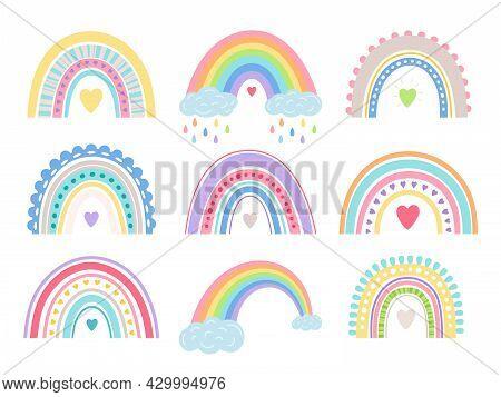 Boho Rainbow Set. Cute Girl Room Vector Rainbows, Baby Shower Cartoon Bow Arc Decor, Summer Dream Fr