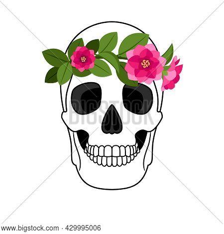 Flowering Human Skull. Blooming Flowers Bohemian Skulls Icon, Hippie Fashion Floral Wreath Human Ske