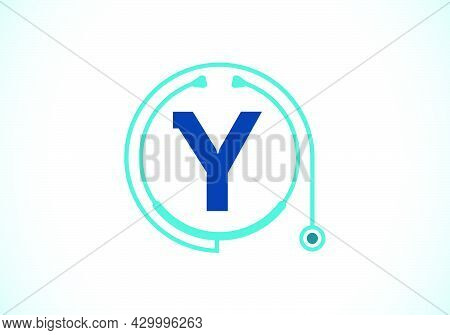 Initial Y Monogram Alphabet With Doctor Stethoscope. Vector Stethoscope Logo Or Icon. Logo For Medic