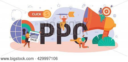 Ppc Typographic Header. Pay Per Click Manager, Contextual