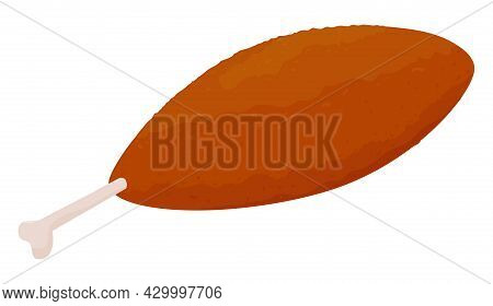 Cartoon Breaded Chicken Kiev Cutlets Isolated On White Background. Traditional Food Illustration.