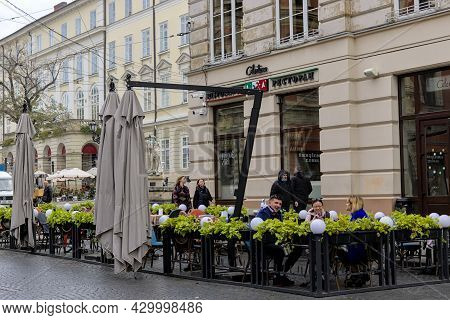 Lviv, Ukraine - October 24, 2020: View Of The Popular Cafe Located On The Street Of The Historic Cen