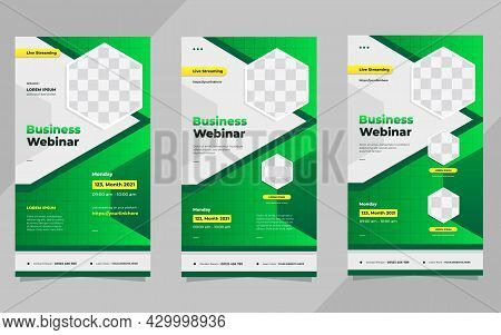Set Of Business Webinar Social Media Stories Post Template With Green Gradient Background And Hexago