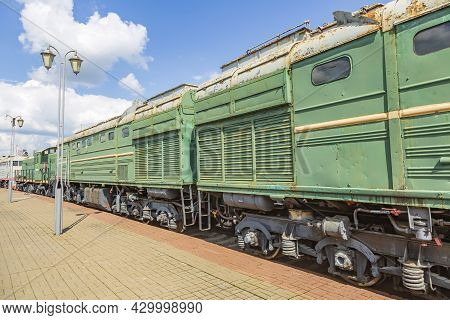 Rare Retro Railway Carriage Of The Last Century In The Open-air Museum Of Railway Vehicles. Moscow,