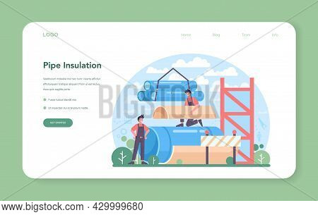 Pipe Insulation Web Banner Or Landing Page. Thermal Or Acoustic Insulation.