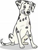 Cartoon Illustration of Cute Dalmatian Purebred Dog poster