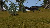 majungasaurus in grassland poster
