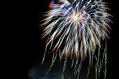 colorful fireworks celebration on dark sky background poster