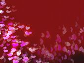 Red Valentine's day background with pink white and purple hearts poster