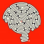 illustration of an intriguing mind puzzle in the form of a brain shaped maze poster