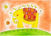 Happy elephant and birds, child's drawing, watercolor painting on paper poster