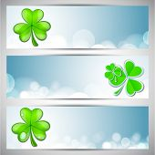 Website header or banner set for St. Patrick's Day celebration with shamrock leaves. poster