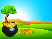 Happy St. Patrick's Day flyer, banner or background with gold coins and pot on nature background. poster