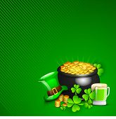 Irish Happy ST. Patrick's Day background with gold coins pot, leprechaun hat, beer mug and shamrock leaves on green background. EPS 10. poster
