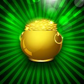 Happy St. Patrick's Day flyer, banner or poster with golden pot with coins on rays background. poster