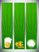 Website banner set for St. Patrick's Day celebration with gold coins, beer mug and shamrock leaves. poster