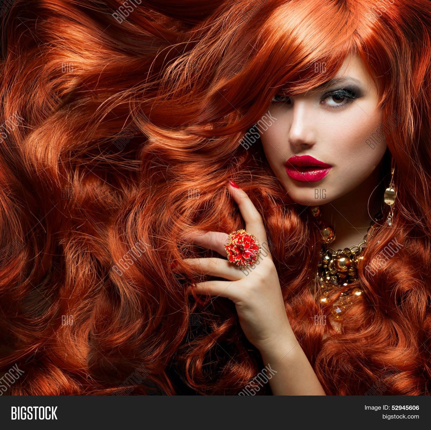 Long Curly Red Hair Image Photo Free Trial Bigstock
