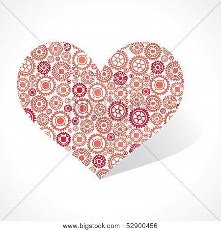 Group of gear make a heart stock vector