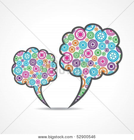 Colorful gears make a message bubble stock vector
