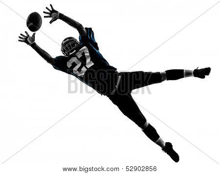 one caucasian american football player man catching receiving in silhouette studio isolated on white background