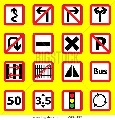 Traffic Sign Icons On Yellow Background
