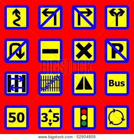 Traffic Sign Icons On Red Background