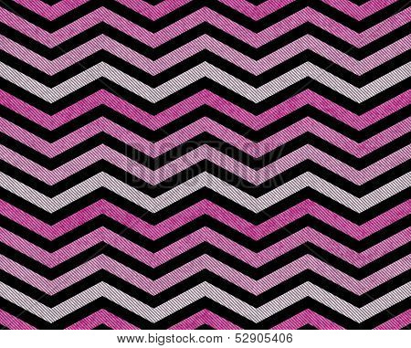 Pink Gray and Black Zigzag Textured Fabric Background that is seamless and repeats poster