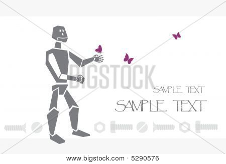 Postcard With Robot And Butterfly