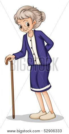 Illustration of an old woman using a wooden cane on a white background