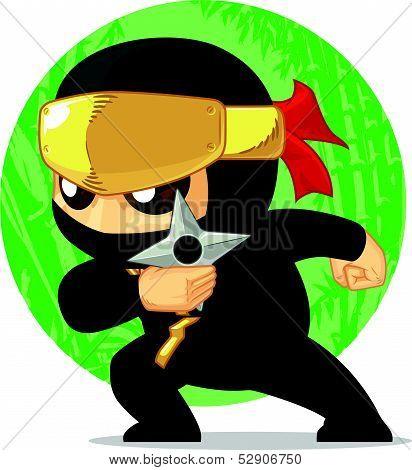 Cartoon Of Ninja Holding Shuriken