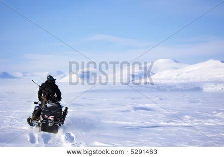 Winter Snowmobile Landscape