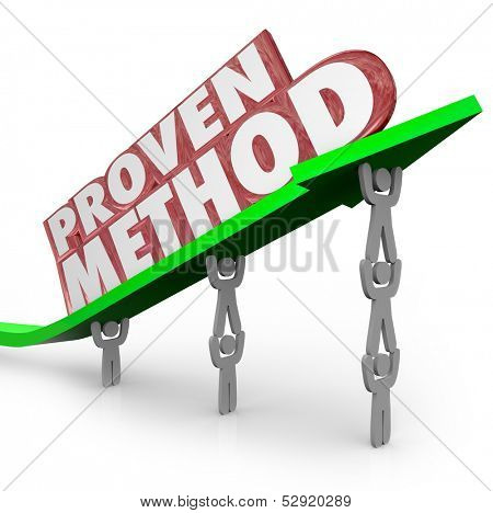 A team lifts an arrow with the words Proven Method to illustrate a time-tested process or procedure for achieving great results