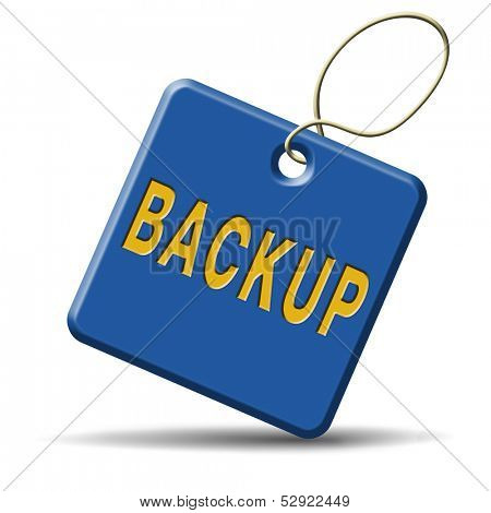 Backup data and software on copy in the cloud on a harddrive disk on a computer or server for file security. Extra folder on external harddrive for document recovery.