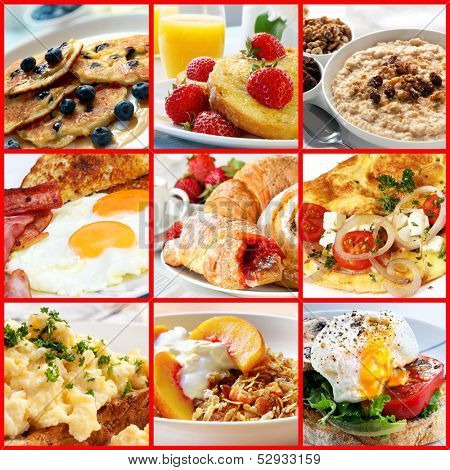 Collage of breakfast images.  Includes pancakes, french toast, oatmeal, bacon and eggs, continental, omelet, muesli, and poached egg. poster