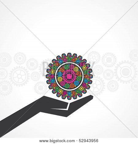 Businessman holds a gear on his hand stock vector