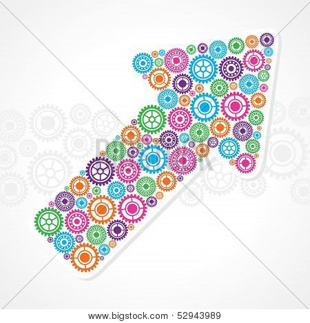 Group of gears make a business arrow stock vector