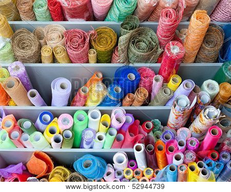 Many Rolls Of Colorful Wrapping