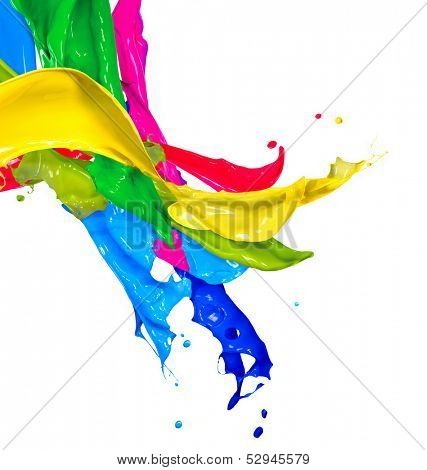 poster of Colorful Paint Splash Isolated on White Background. Abstract Colored Splashing. Multicolor Paint Splatter