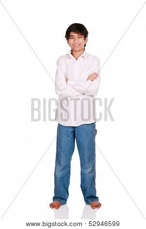 Twelve Year Old Boy Standing, Isolated