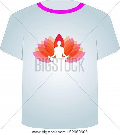 Printable tshirt graphic-yoga on lotus