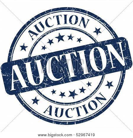 Auction Grunge Blue Round Stamp